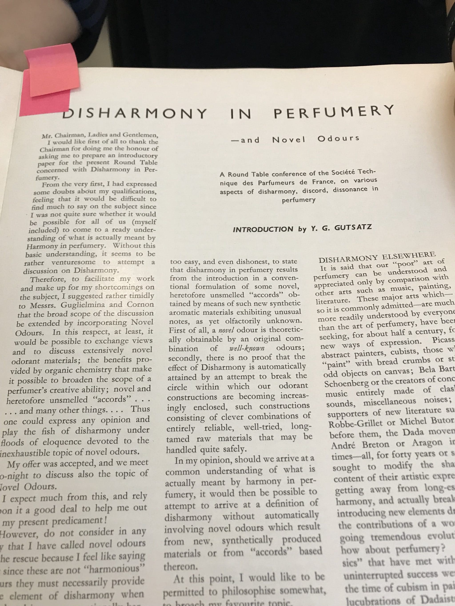 YURI GUTSATZ DISHARMONY IN PERFUMERY